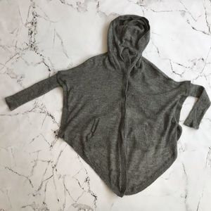 Helmut Lang Gray Hooded Cardigan Small
